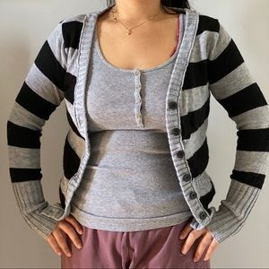 Striped gray and black cardigan